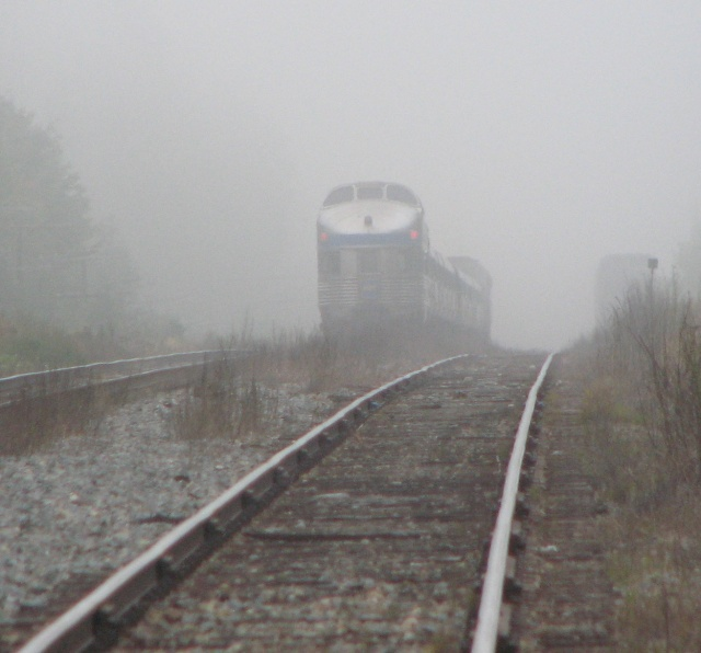 VIA 614 in the fog at McGivney