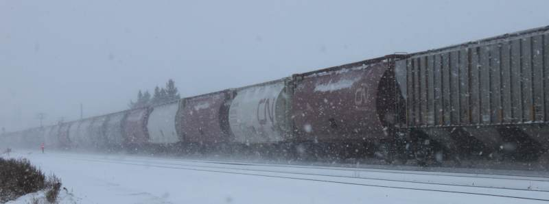 Train cars in the snow