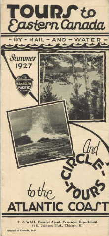 1927 Canadian Pacific Tours to Eastern Canada ad
