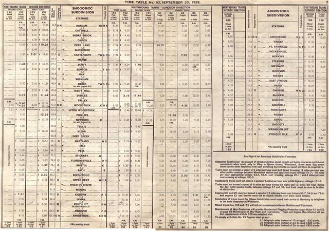 19280930 canadian pacific railway employee timetable new brunswick district