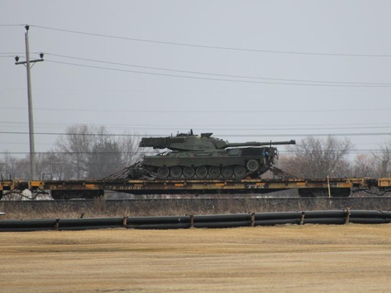 A Leopard tank on a flat car