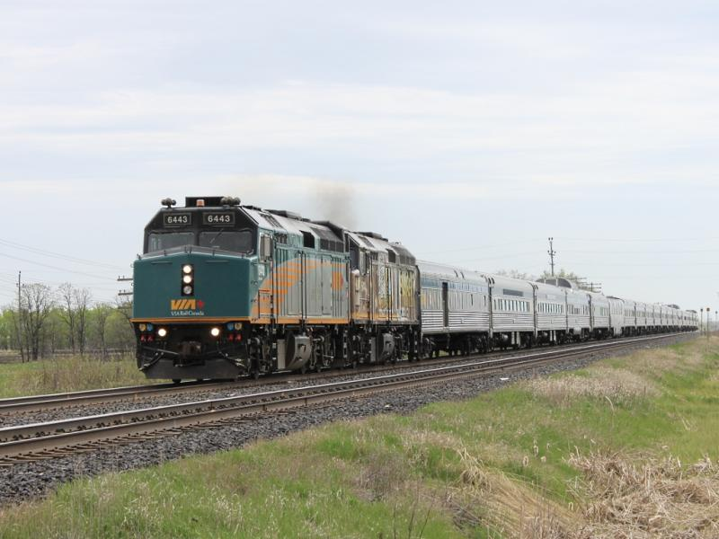VIA 6443 leads the Canadian out of Winnipeg