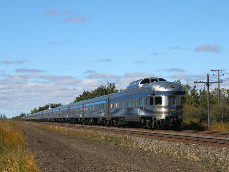VIA Canadian passenger train in Winnipeg Manitoba