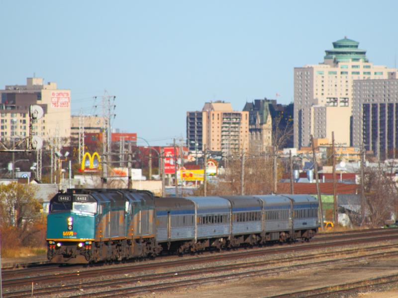 VIA 6452 and the Hudson Bay in Winnipeg