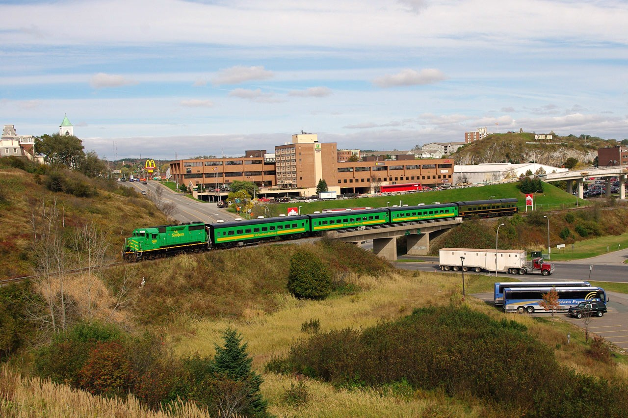 The Metis and the Excursion Train over Chesley Drive in Saint John, NB 2011/10/12 by David Morris