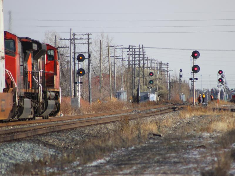 CN 8954 and Signals in Winnipeg, MB 2011/11/17