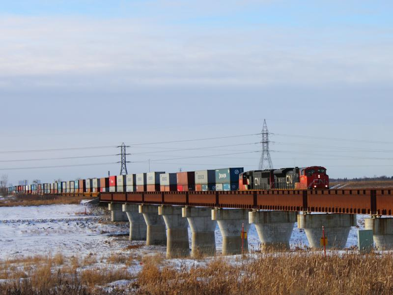 CN 8906 crossing the Floodway in Winnipeg