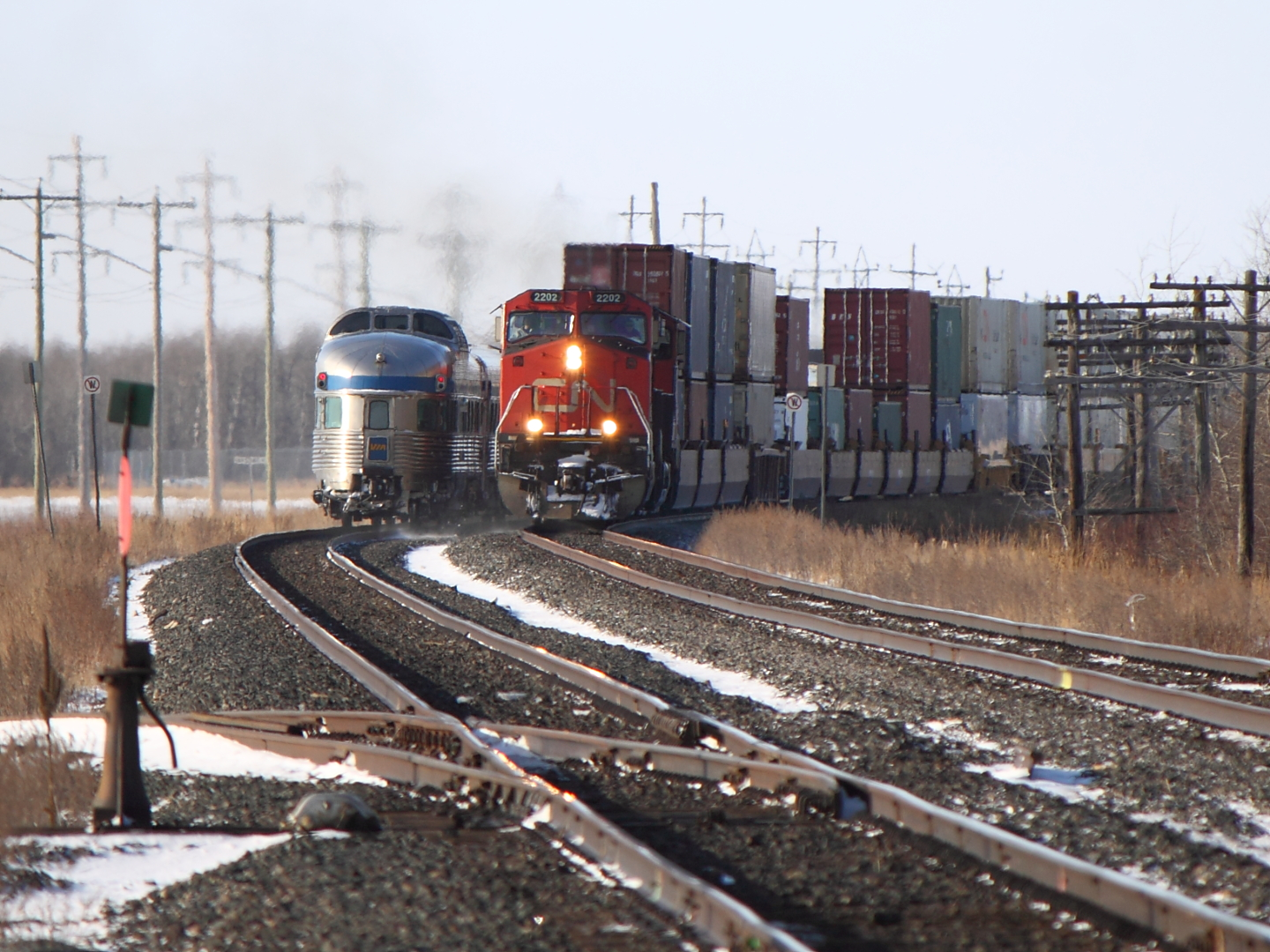 CN 2202 Meets the Canadian in Winnipeg, MB 2012/01/16