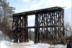 Partial demolition of the Hiram Creek trestle. Photo by Anonymous.