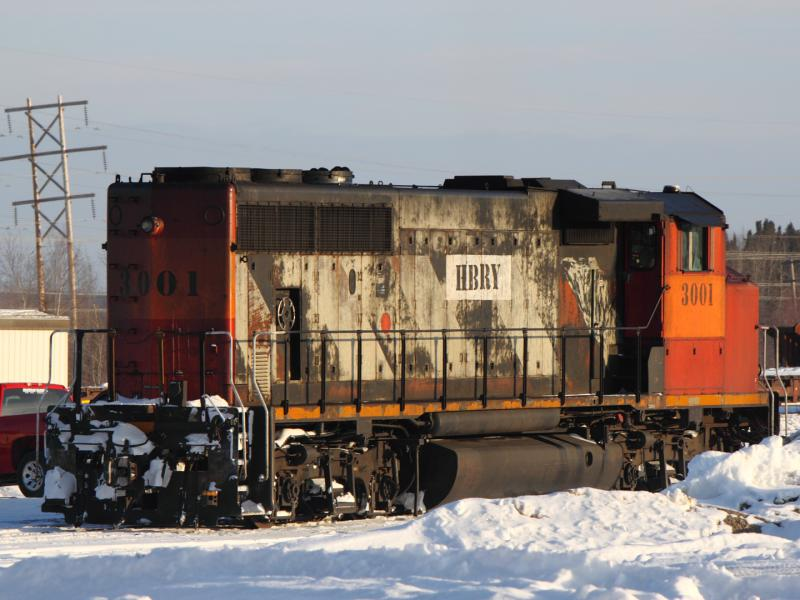 Hudson Bay Railroad engine 3001 in Thompson