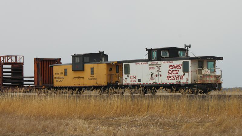 BCOL 1873 and CN 77014 cabooses in Winnipeg