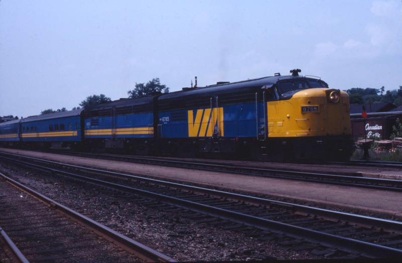 VIA 6765 in Brockville Ontario 1981/07