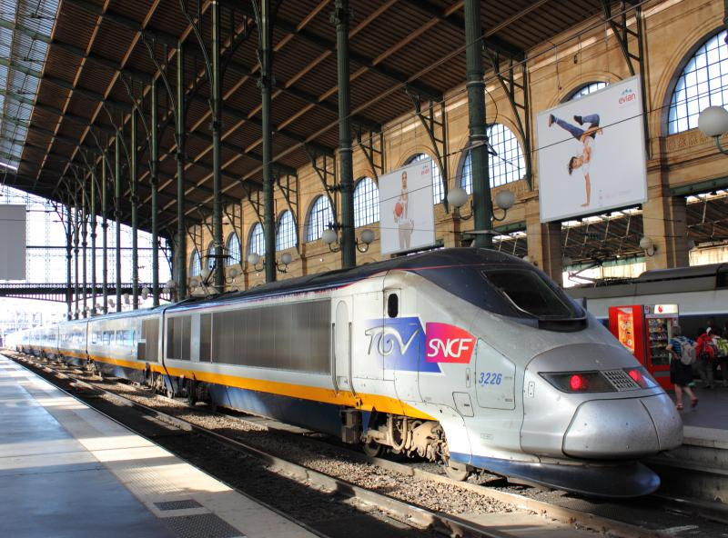 TGV trainset in Gare du Nord in Paris