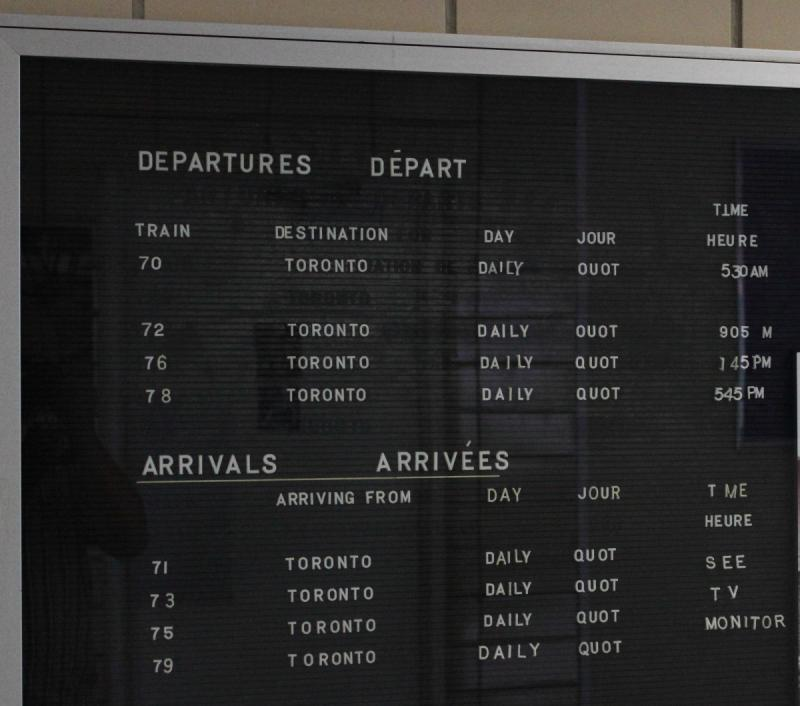 Arrivals and Departures board in Windsor Ontario