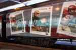 Stamps on the exterior of the Grey Cup train.