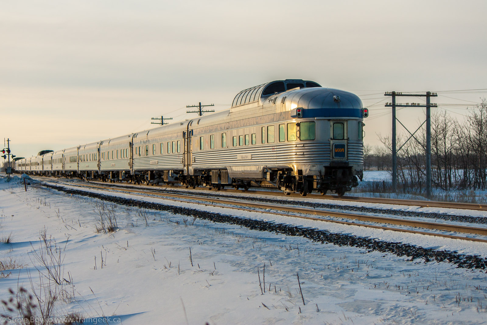 The VIA Rail Canadian leaving Winnipeg, MB 2013/01/17