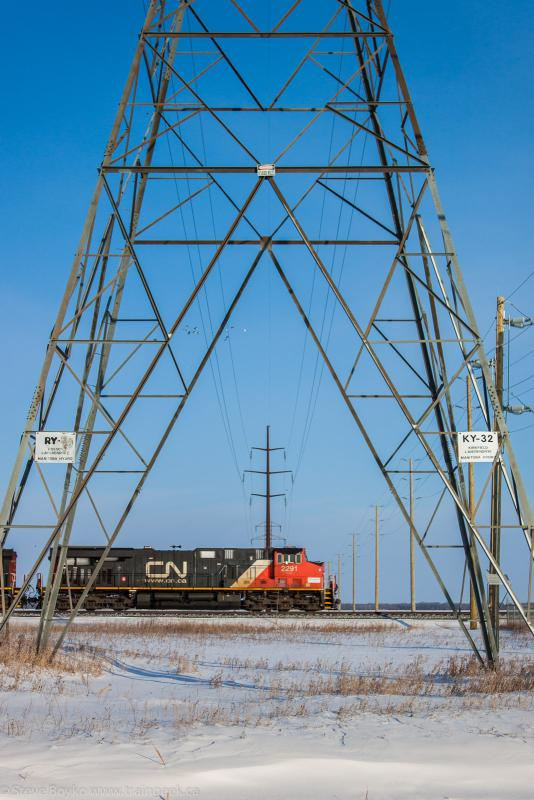CN 2291 under transmission towers