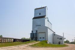 The former Agricore grain elevator in Dufresne, Manitoba.