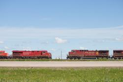 CP 9616 and CP 8879 meet at Belle Plaine, SK 2013/07/14