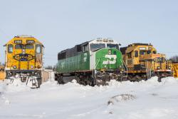 BNSF 3195, BNSF 8168, and BNSF 1885 in Grand Forks, ND 2014/02/16