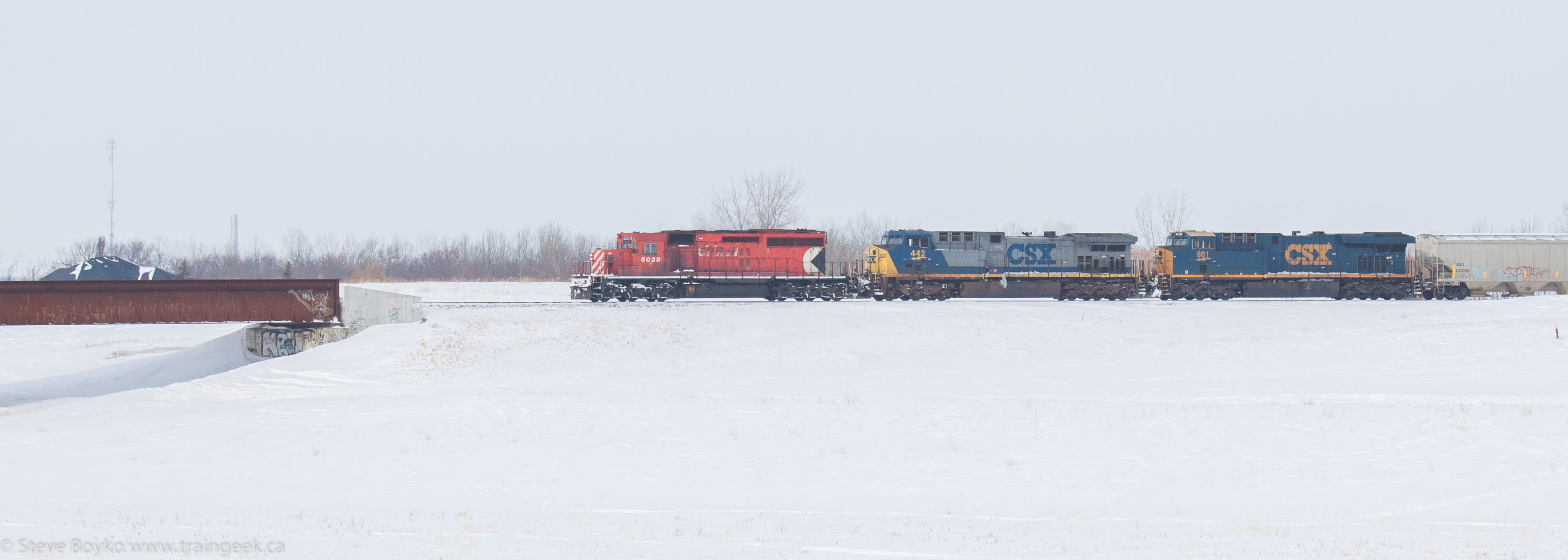 CP 6029 CSX 442 CSX 861 on the Floodway in Winnipeg 2014/03/09