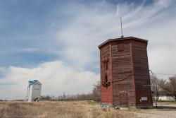 A water tower and grain elevator in Clearwater, MB 2014/05/10
