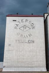 Paterson logo on the grain elevator in Teulon, MB 2014/06/21