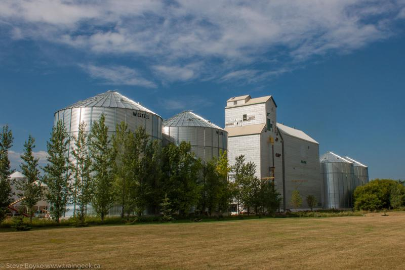 The grain elevator in Baldur with storage bins and annex