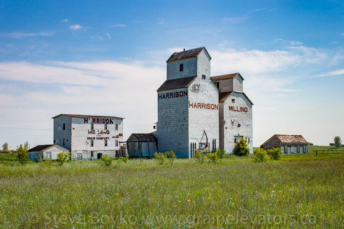 The Harrison Milling grain elevators in Holmfield, MB 2014/08/08