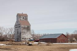The Stevens and Company grain elevator in Fannystelle, MB 2014/04/18