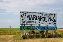 The sign and elevator at Mariapolis, MB 2014/08/08