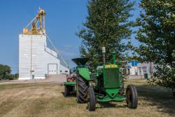 A Tractor and Grain Elevator, Cartwright, MB 2014/08/08
