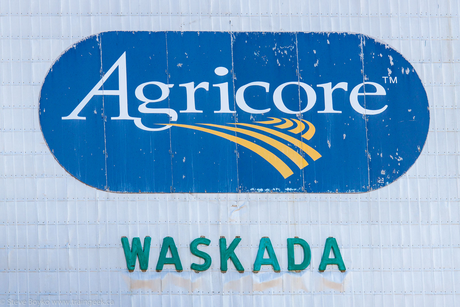 Agricore logo on the Waskada, MB grain elevator 2014/08/08