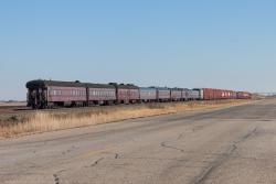 The CP Holiday Train with VAN HORNE on the rear near Rosser, MB 2014/11/14