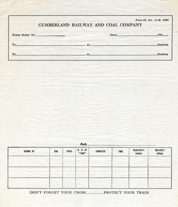 Cumberland Railway and Coal Company Blank Train Order