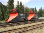 CP snowplows 400840 and 401036 in Banff, AB 2002/08/14