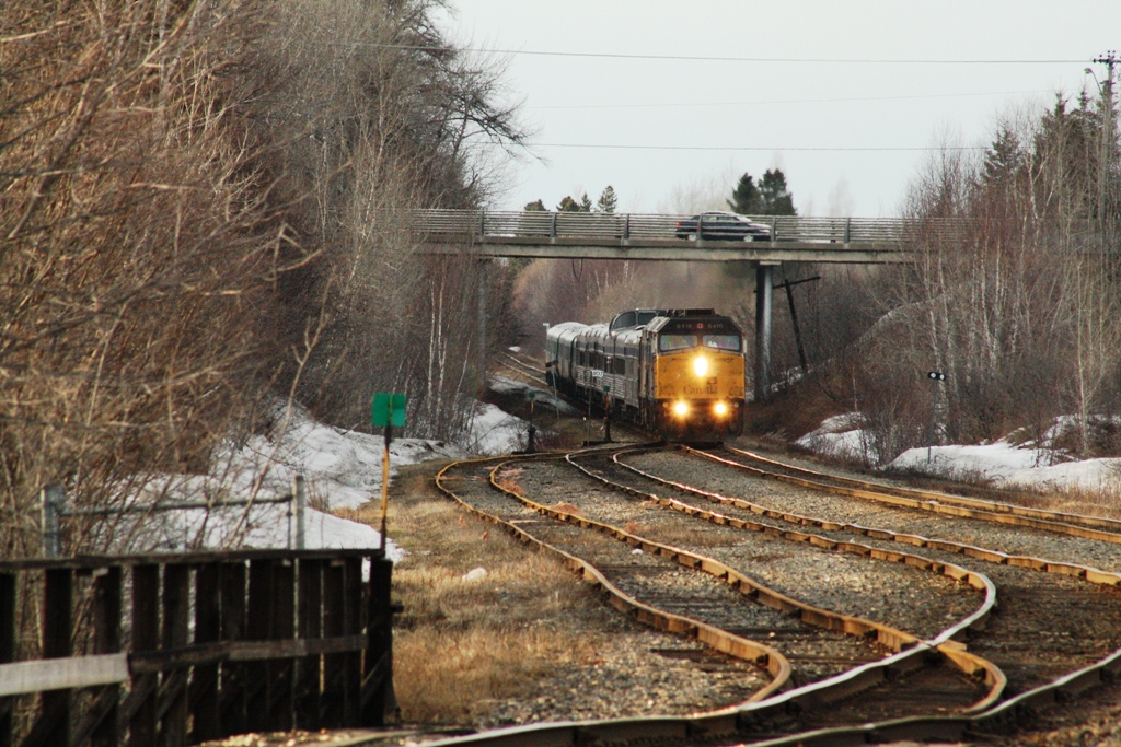 VIA 6416 at Bathurst, NB 20090409. Photo by Michel Boudreau.