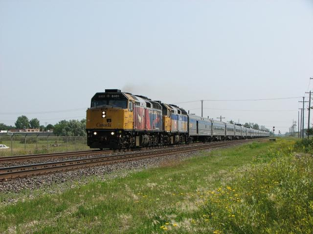 VIA 6401 and 6431 lead the Canadian through Winnipeg