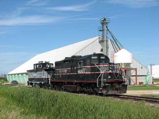 Central Manitoba Railway locomotive and caboose