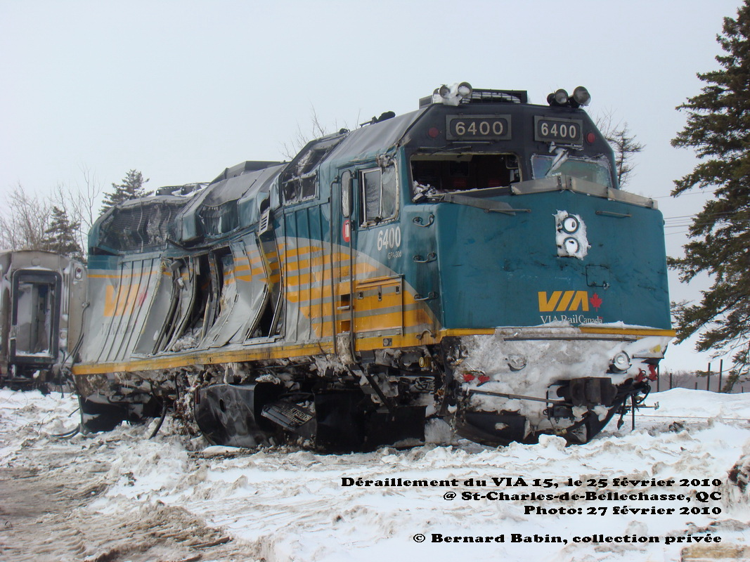 VIA 6400 at derailment in St-Charles, Quebec 2010/02/27 by Bernard Babin