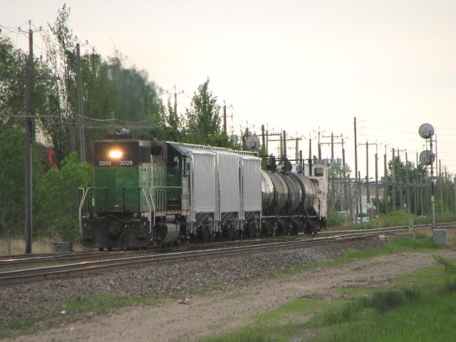 BNSF 3028 transfer train in Winnipeg
