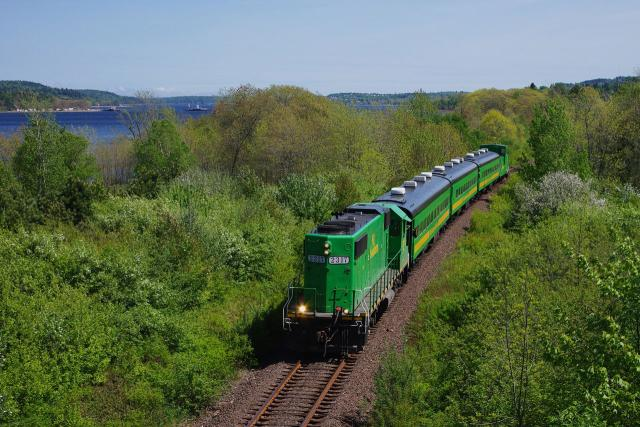 NB Southern excursion train near Westfield Beach, NB. Photo by David Morris.