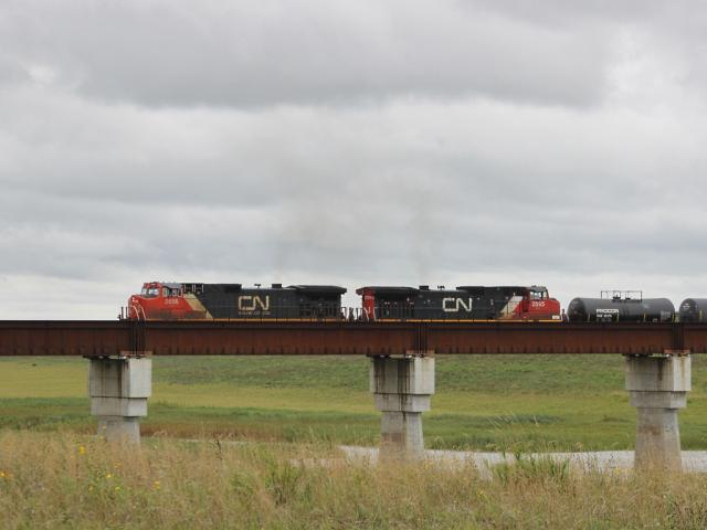 CN 2656 on the Floodway bridge, Winnipeg