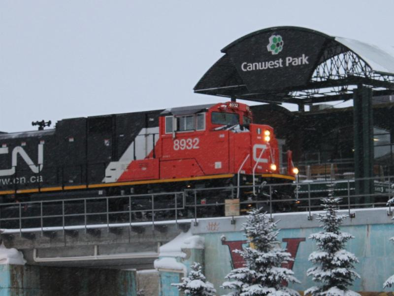 CN 8932 in Winnipeg at Canwest Park