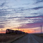 Prairie train at sunrise