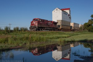Train at grain elevator in Mortlach