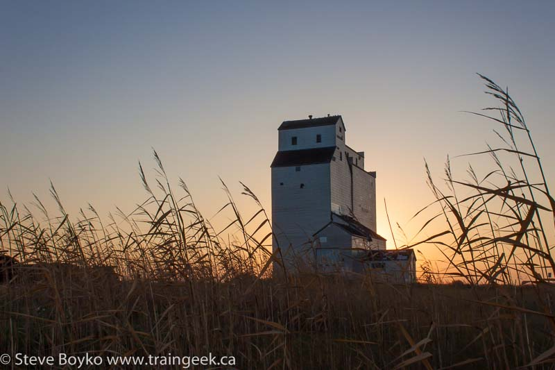 Sunrise at the Meadows grain elevator.