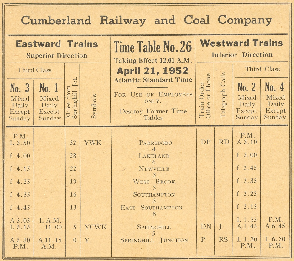 April 21, 1952 Cumberland Railway and Coal Company public timetable