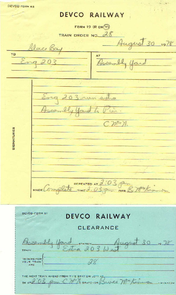 Devco Train Order 28 and Clearance 19780830