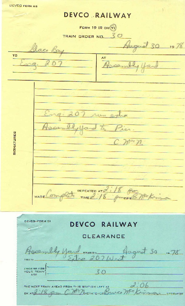 Devco Train Order 30 and Clearance 19780830